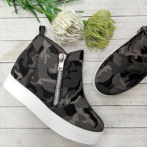 New Black Camouflage Hidden Wedge Sneakers